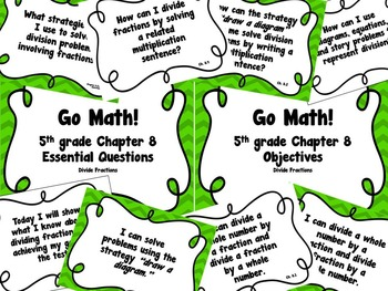 CA Go Math 5th Grade Resource Packet-Ch 8 Essential Questions & Daily Objectives