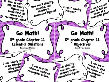 CA Go Math 5th Grade Resource Packet-Ch11 Essential Questions & Daily Objectives