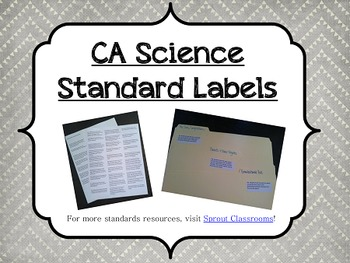 CA Science Standards Labels-5th Grade