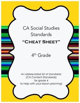 "CA Social Studies Standards ""Cheat Sheet""- 4th Grade"