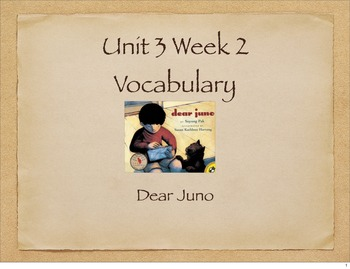 Dear Juno Vocabulary Presentation for McGraw Hill Treasures 3rd Grade