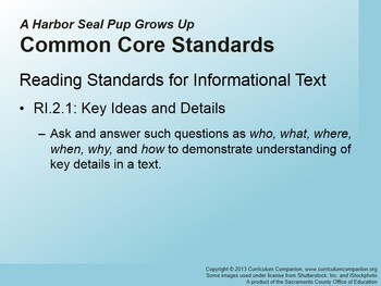 CA Treasures A Harbor Seal Pup Grows Up Grade 2 Unit 4 (Common Core Standards)