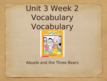 CA Treasures: Abuelo and the Three Bears Vocabulary Powerpoint