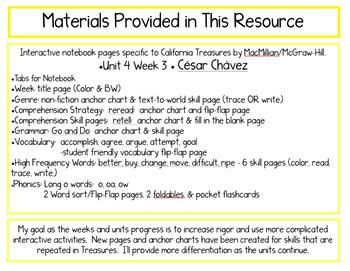 CA Treasures • Cesar Chavez• Interactive Notebook • Unit 4 Week 3