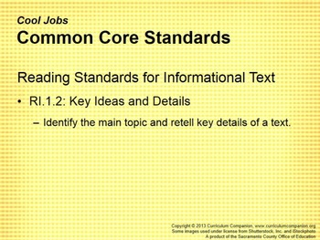 CA Treasures Cool Jobs Grade 1 Unit 6 (Common Core Standards)