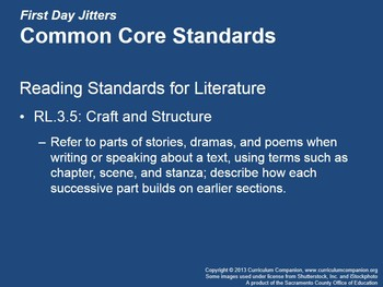 CA Treasures First Day Jitters Grade 3 Unit 1 (Common Core Standards)