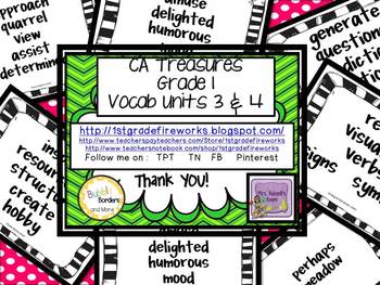 CA Treasures Grade 1 ....Focal Wall Vocab Charts... Units 3 & 4