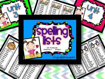 CA Treasures Grade 1 ....Spelling Lists... Units  3 & 4