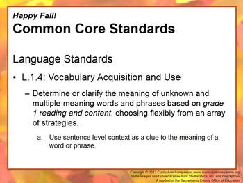 CA Treasures Happy Fall! Grade 1 Unit 5 (Common Core Standards)