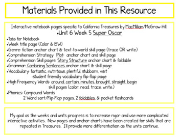CA Treasures • Super Oscar •Interactive Notebook • Unit 6 Week 5