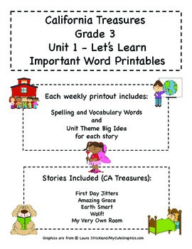 Treasures - Grade 3 - Unit 1 Spelling Word Lists
