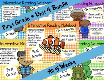 CA Treasures • Unit 4 • First Grade • Interactive Notebook • Bundle