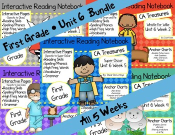 CA Treasures • Unit 6 • First Grade • Interactive Notebook • Bundle