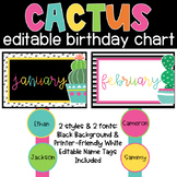 CACTUS Birthday Chart-Classroom Theme Decor