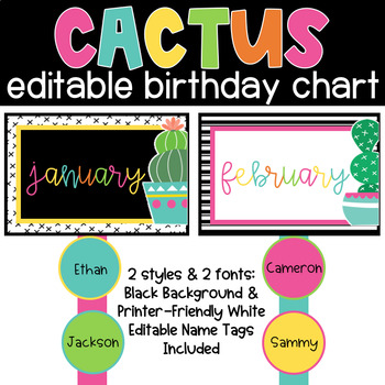 CACTUS Birthday Chart Classroom Theme Decor