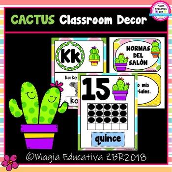 CACTUS Classroom Decor SUPER BUNDLE (SPANISH)