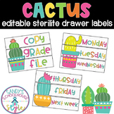 Cactus Classroom Theme Editable Sterilite Drawer Labels