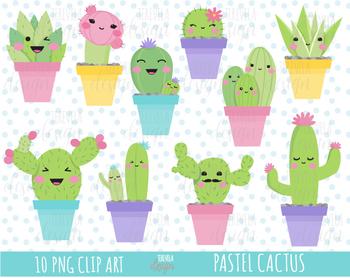 CACTUS clipart, kawaii clipart, botanical clipart, cactus kawaii, PASTEL COLORS