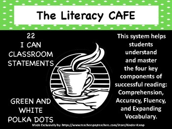 "The Literacy CAFE Board ""22 I Can Statements"" Green Polka-Dot Decor"