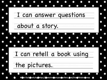 "The Literacy CAFE Board ""22 I Can Statements"" black & white polka-dot"