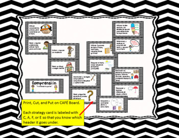 CAFE Board for 2nd Grade IN SPANISH - Board Set - includes Strategy Cards