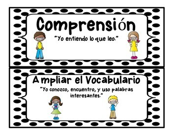 CAFE Board for Kindergarten IN SPANISH - Board Set - includes Strategy Cards