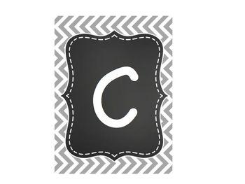 CAFE Bulletin Board Gray & Chevron Chalkboard Decor
