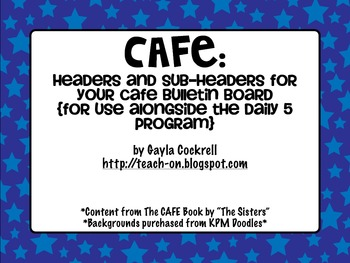 CAFE Bulletin Board Headers with stars background