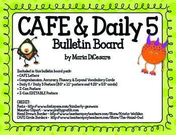 CAFE & Daily 5 Monster Theme_EDITABLE