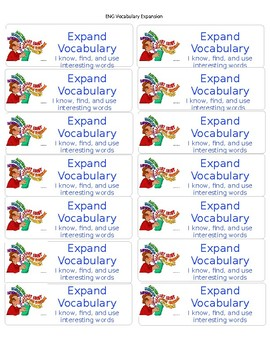 CAFE English Expand Vocabulary goal Label in blue