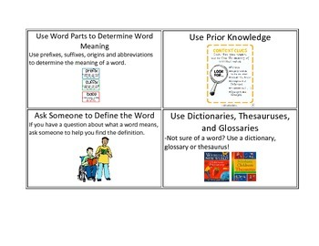 CAFE Expand Vocabulary Strategy Cards with Visuals