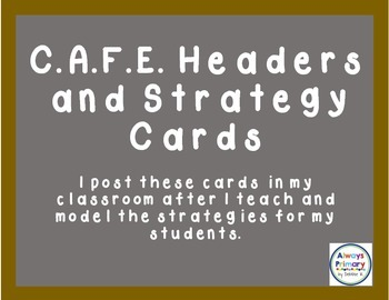 CAFE Headers and Strategy Cards