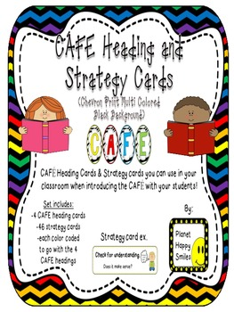 Reading Strategy Cards, Letters, and Po (Multi Color Chevron w/ black bkgd) Tall