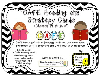 Reading Strategy Cards, Letters, and Posters (B/W Chevron Print)
