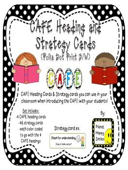 Reading Strategy Cards, Letters, and Posters (B/W Polka Dot Print) Tall Version