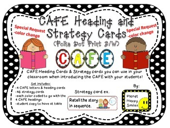 Reading Strategy Cards, Letters, & Posters (B/W Polka Dot Print)~SPECIAL REQUEST
