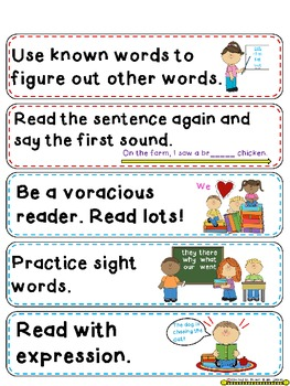 Reading Strategy Cards, Letters, & Posters (Multi Colored Chevron) Tall Version