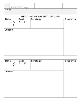 CAFE Reading Conference Tracking Sheets