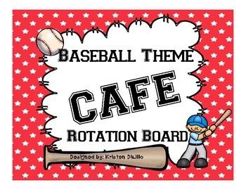 CAFE Rotation Board *Baseball Theme* for Sports Theme Classroom!