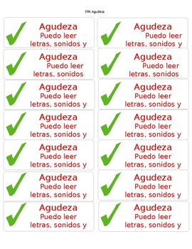 CAFE Spanish Agudeza goal labels in red