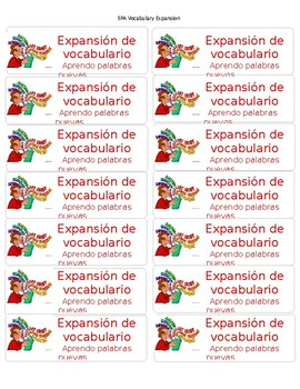 CAFE Spanish Expand Vocabulary labels in red