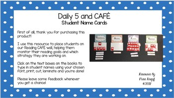 CAFE Strategy Student Name Cards