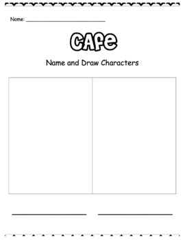 CAFE Worksheets for Kindergarten and Grade 1: Retell, Characters, Problem