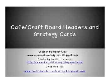 CAFE and CRAFT Headers and Strategy Cards: White and Brigh