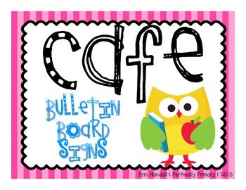 CAFE bulletin board signs FREEBIE {bright owls theme}