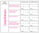 CAFE daily 5 reading observation checklist