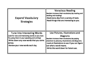 CAFE expand vocabulary strategy cards