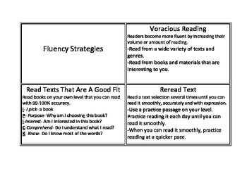 CAFE fluency strategy cards
