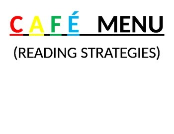 CAFE menu adjusted for intermediate and middle school