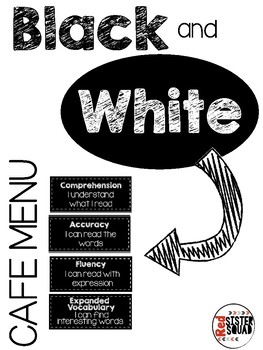 CAFE menu: daily five black and white